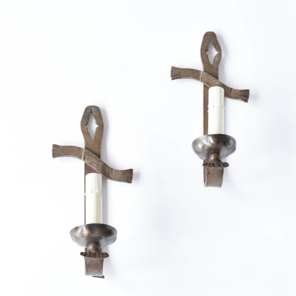 Vintage Iron Sconces with Tall Simple Form
