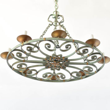 Vintage Country French Chandelier with Green Patina in Oval Form
