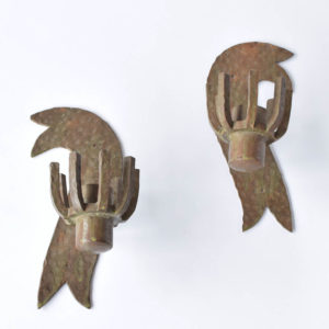 Iron Sconces from Spain with unusual Arts & Crafts Design