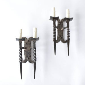 Vintage HAnd Forged Iron Sconces from Belgium
