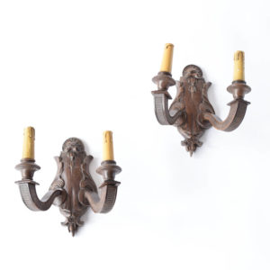 Vintage Wood Sconces from Belgium with Carved Louis XVI Design