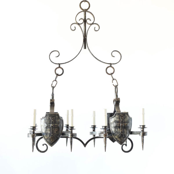 Vintage Iron Chandelier from Belgium with Crusader shields