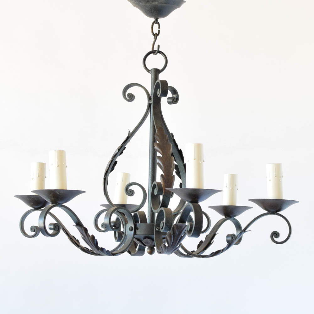 French iron chandelier the big chandelier french iron chandelier with leaves and forged curls mozeypictures Choice Image