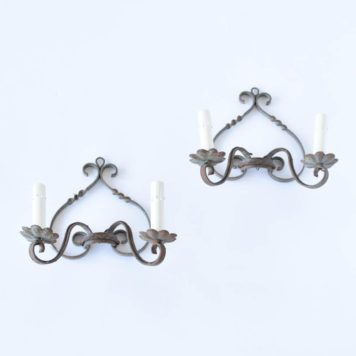 Iron Sconces with Twisted Metal Frame
