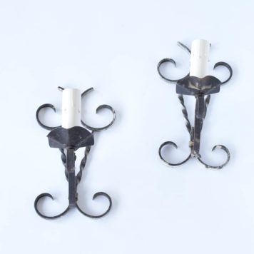 Vintage Iron Sconces with Twisted Metal Details