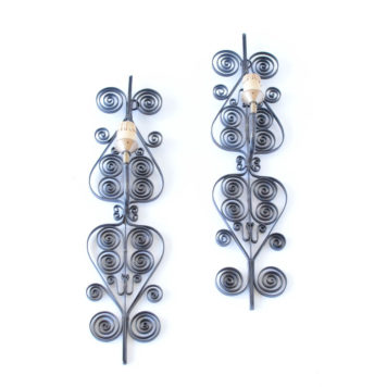 Vintage Sconces from Belgium with Tall Curling Backplates