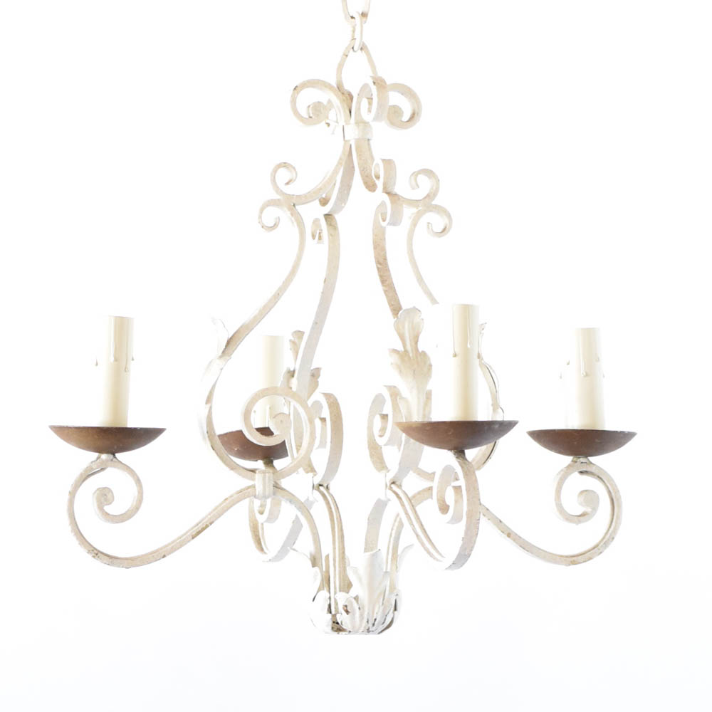 French Country Chandelier With White Patina