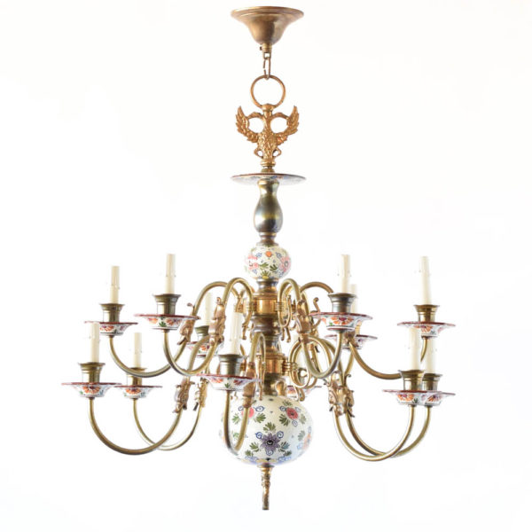 Polychrome porcelain Chandelier from Holland