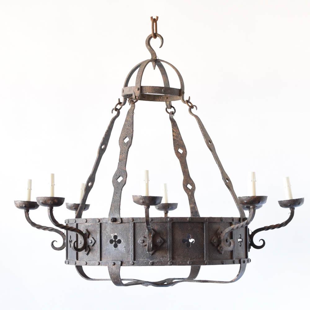Belgian neo gothic chandelier the big chandelier neo gothic chandelier from belgium with quatrefoil cut outs arubaitofo Gallery