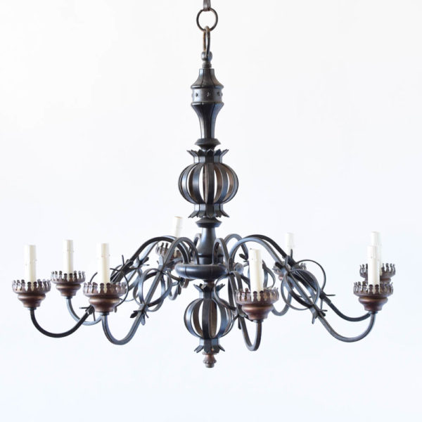 Iron Chandelier from Belgium with orbs on arms