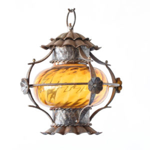 Amber Iron Lantern from Belgium with central yellow orb