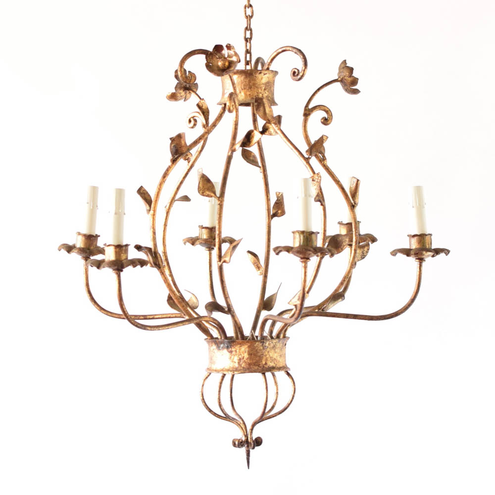 Large simple iron chandelier the big chandelier leafy gold iron chandelier arubaitofo Gallery