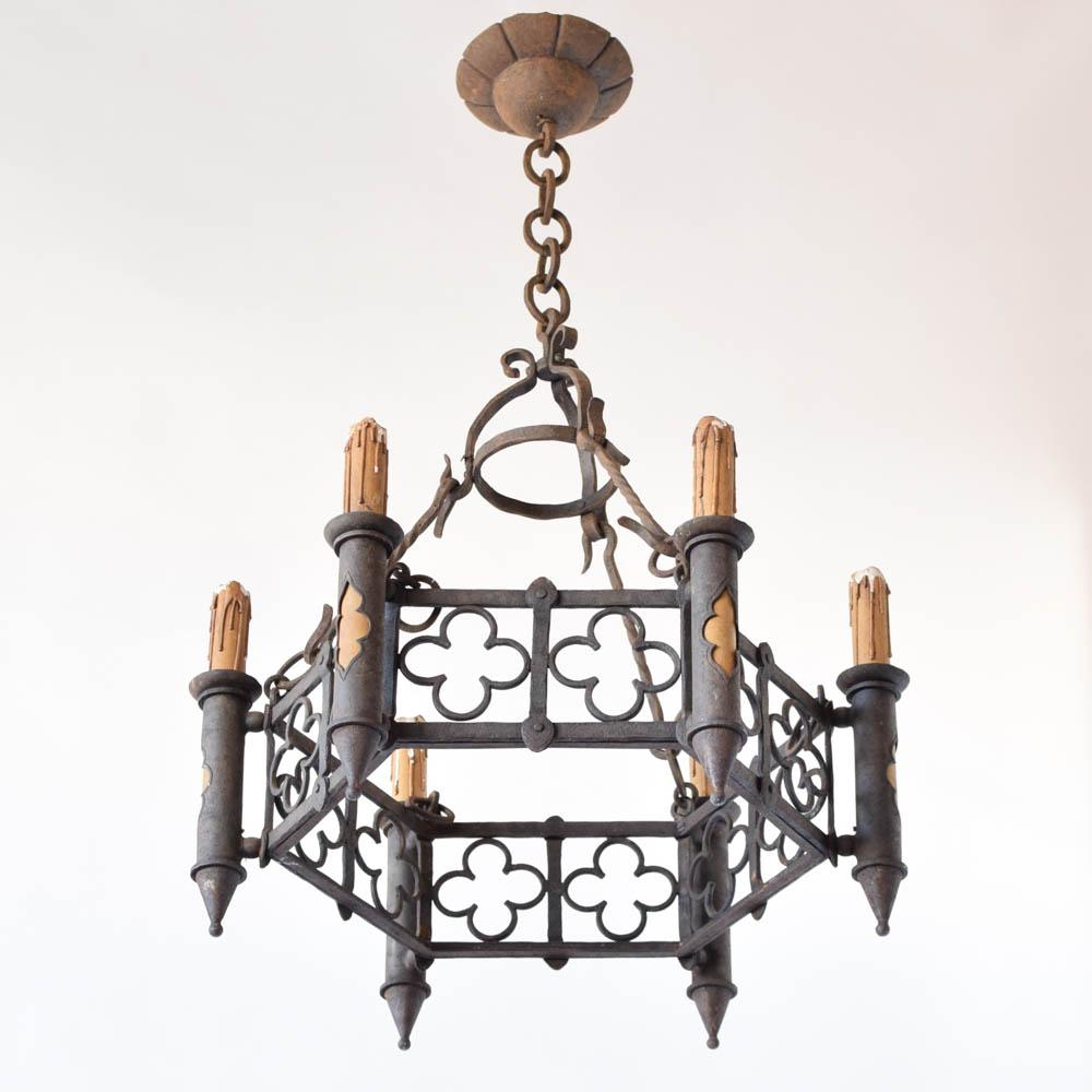 Quatrefoil light fixture free gold quatrefoil drum ceiling mount cool iron chandelier with quatrefoil motifs from france with quatrefoil light fixture arubaitofo Choice Image