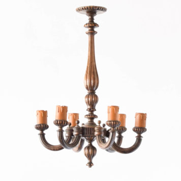 Vintage carved wooden Chandelier from Belgium