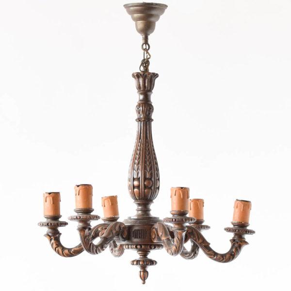 Vintage carved wooden Chandelier from Belgium