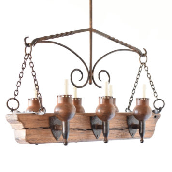 Rustic Wood beam chandelier from Europe