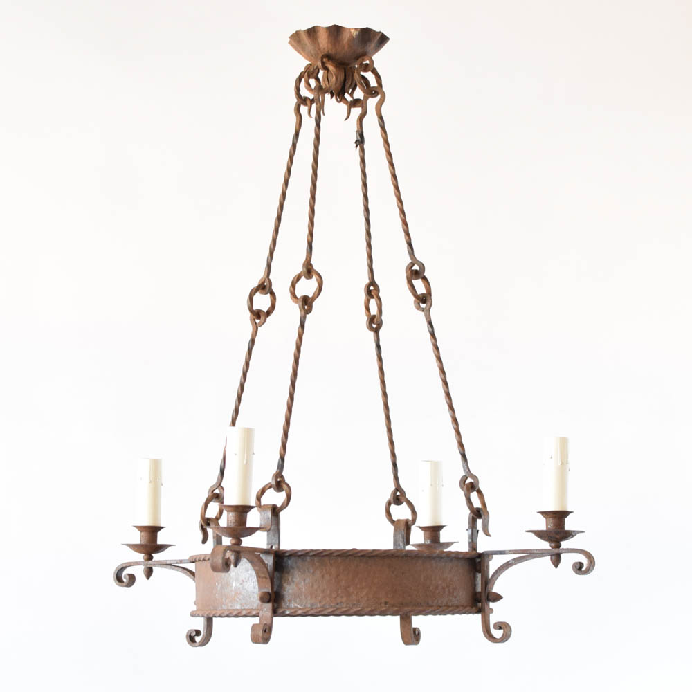 Rustic french chandelier w elongated rods the big chandelier rustic chandelier with elongated rods and 4 lights from france aloadofball Images