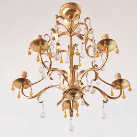 Amber Crystal gilded Chandelier from Italy