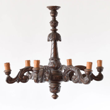 Large Vintage carved wooden Chandelier from Belgium