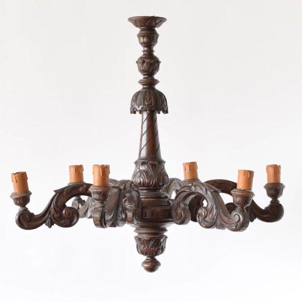 Large Vintage carved wooden Chandelier from Belgium