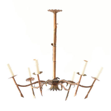 Gilded iron Chandelier with Bamboo design from Spain