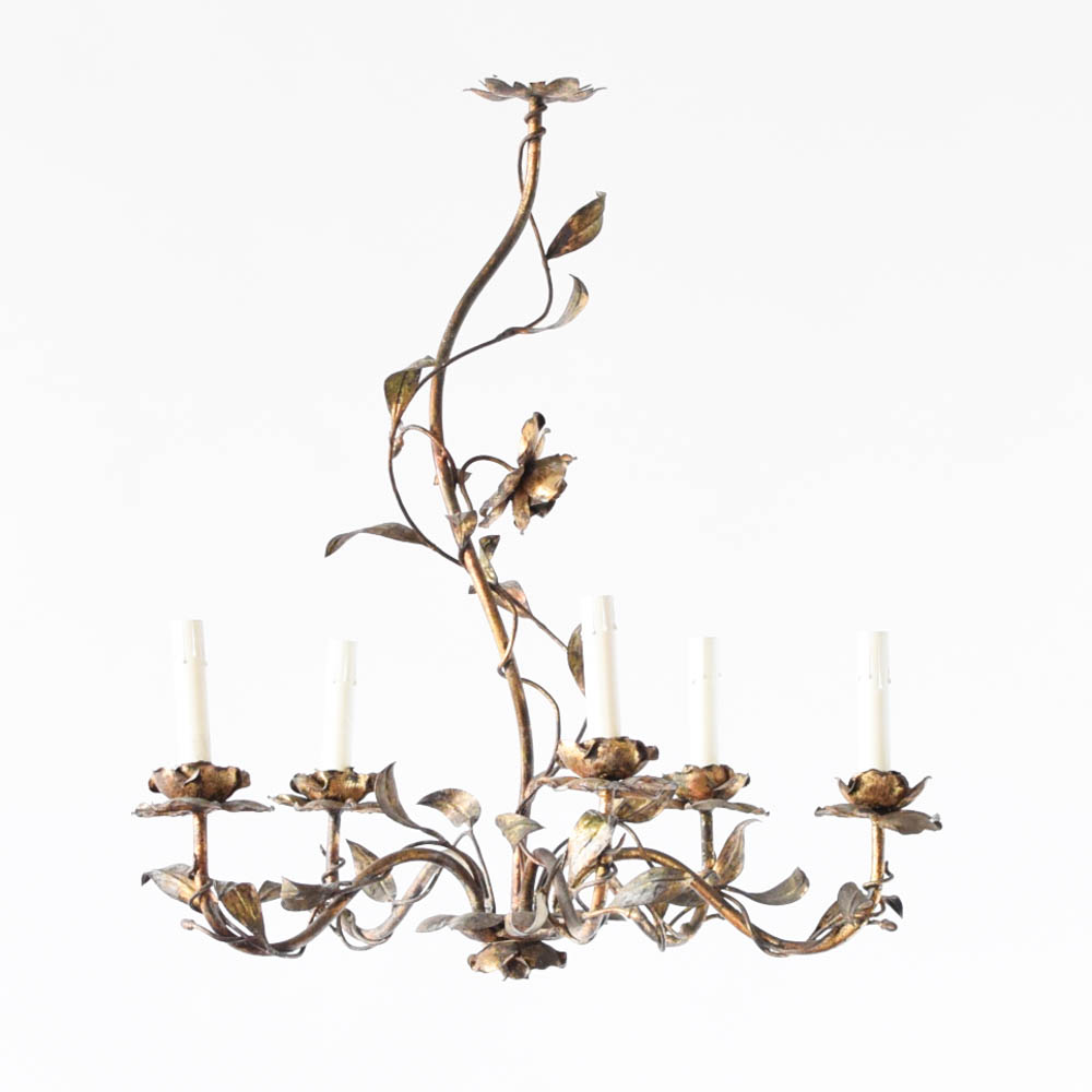 Gilded chandelier w roses leaves the big chandelier antique gilded chandelier with roses and leaves from spain aloadofball Choice Image