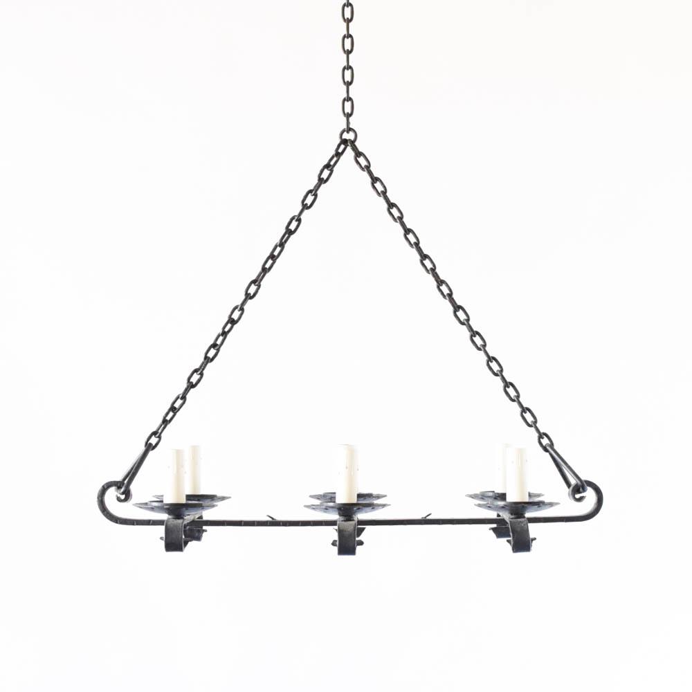 Elongated flat iron chandelier the big chandelier vintage elongated iron flat chandelier from belgium arubaitofo Images