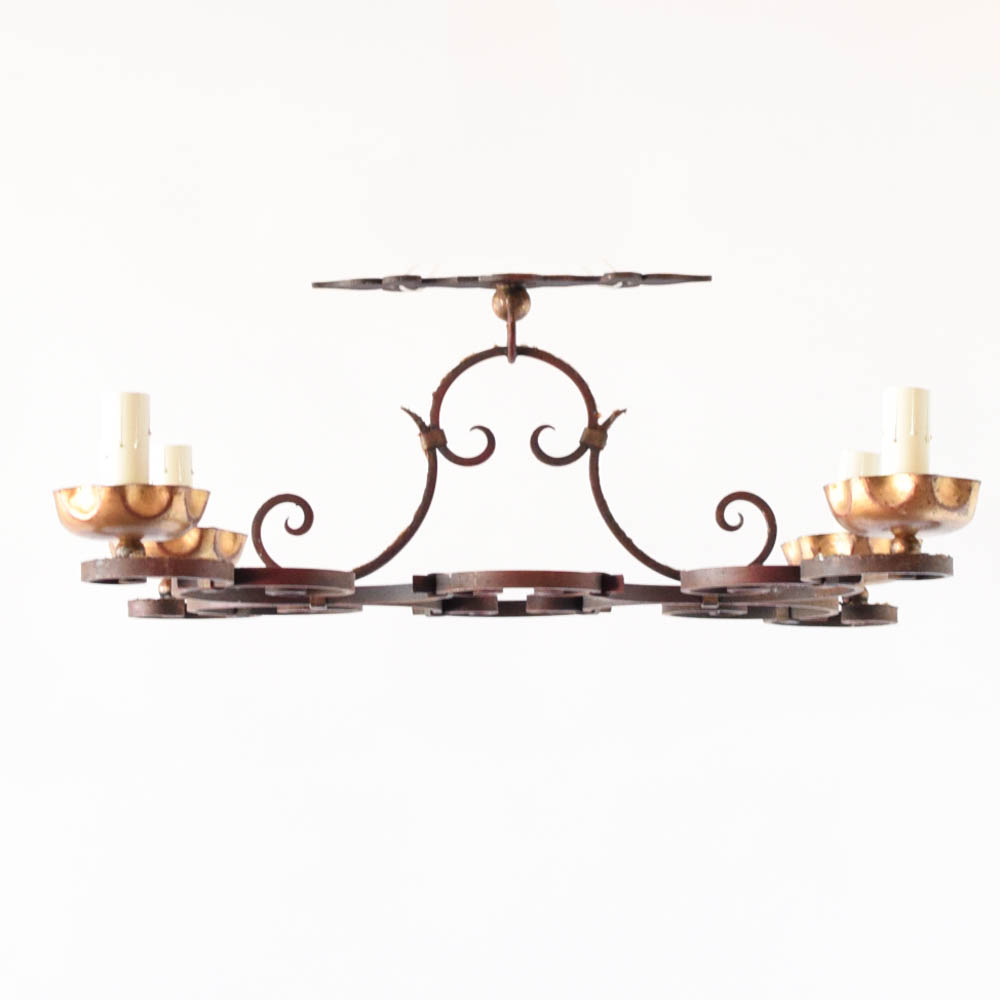 Ceiling Mounted Chandelier With Red Patina