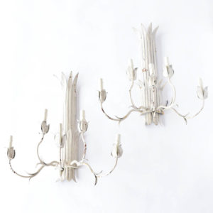 Pair of white patina iron sconces from Europe