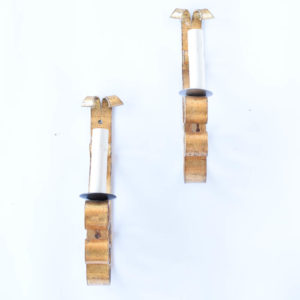 Pair of tall gilded sconces from Spain
