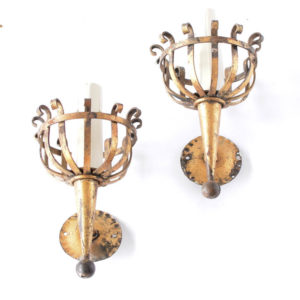 pair of gilded torch sconces from Spain