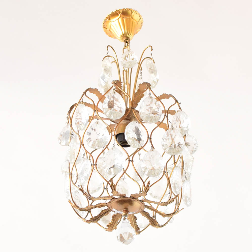 Crystal & Brass Hall Light - The Big Chandelier