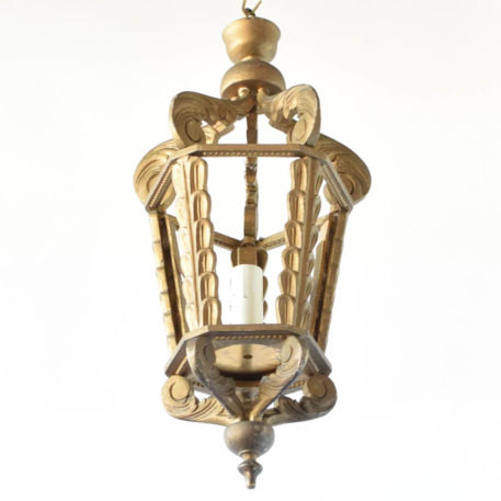 Wood latern with gold patina from Spain