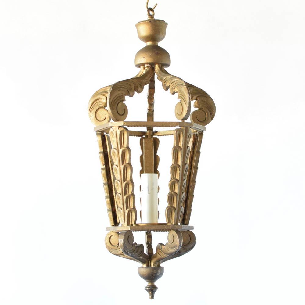 Wood Lantern W Gold Patina