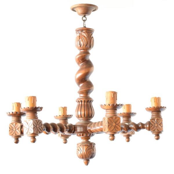 Barley Twist wood chandelier from Belgium