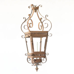 Antique lanterned which is converted from a gas lantern to an electric lantern and is from France