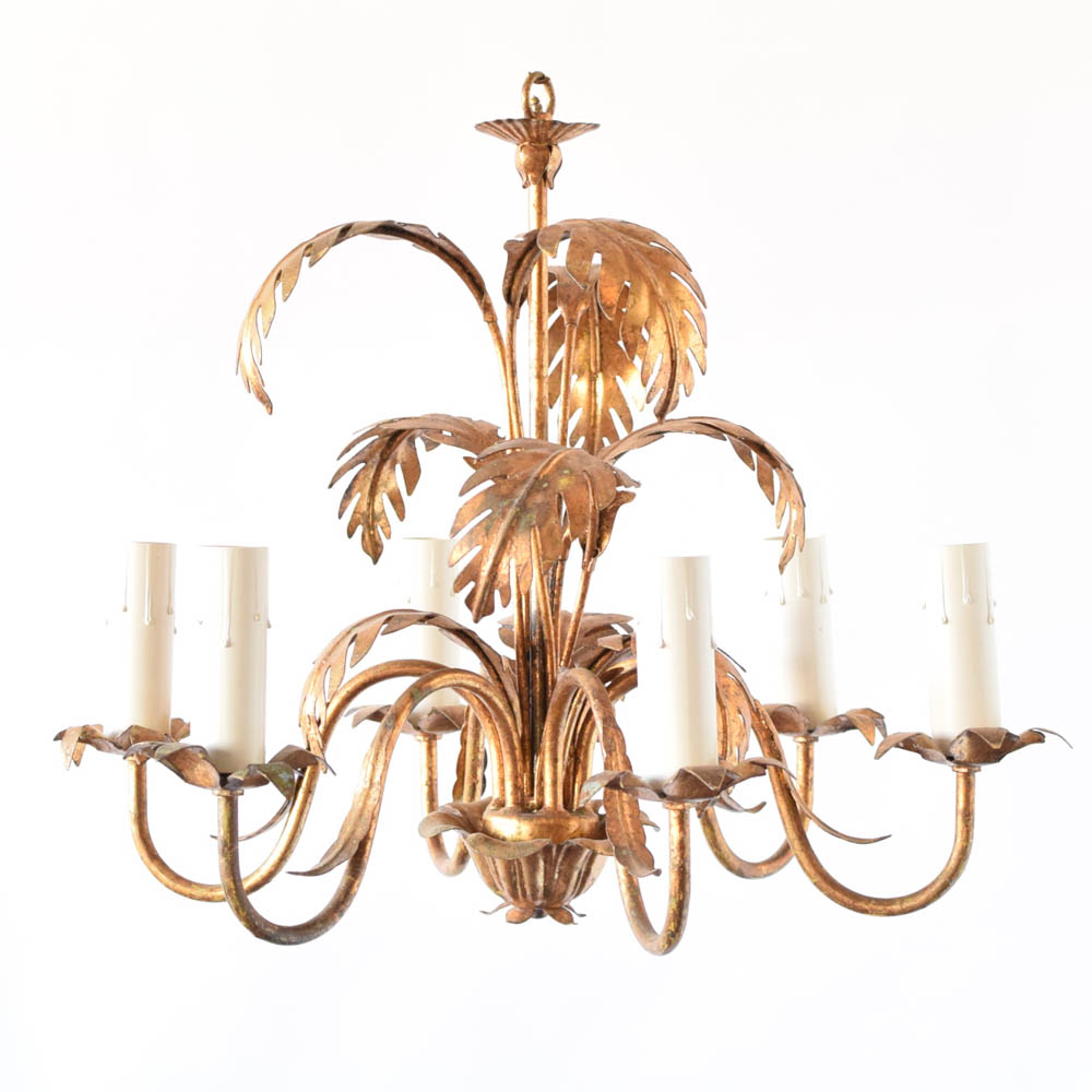 gold leaf chandelier branch gold palm leaves chandelier from italy palm leaves the big