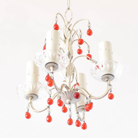 Small Iron Chandelier with red beads from Italy