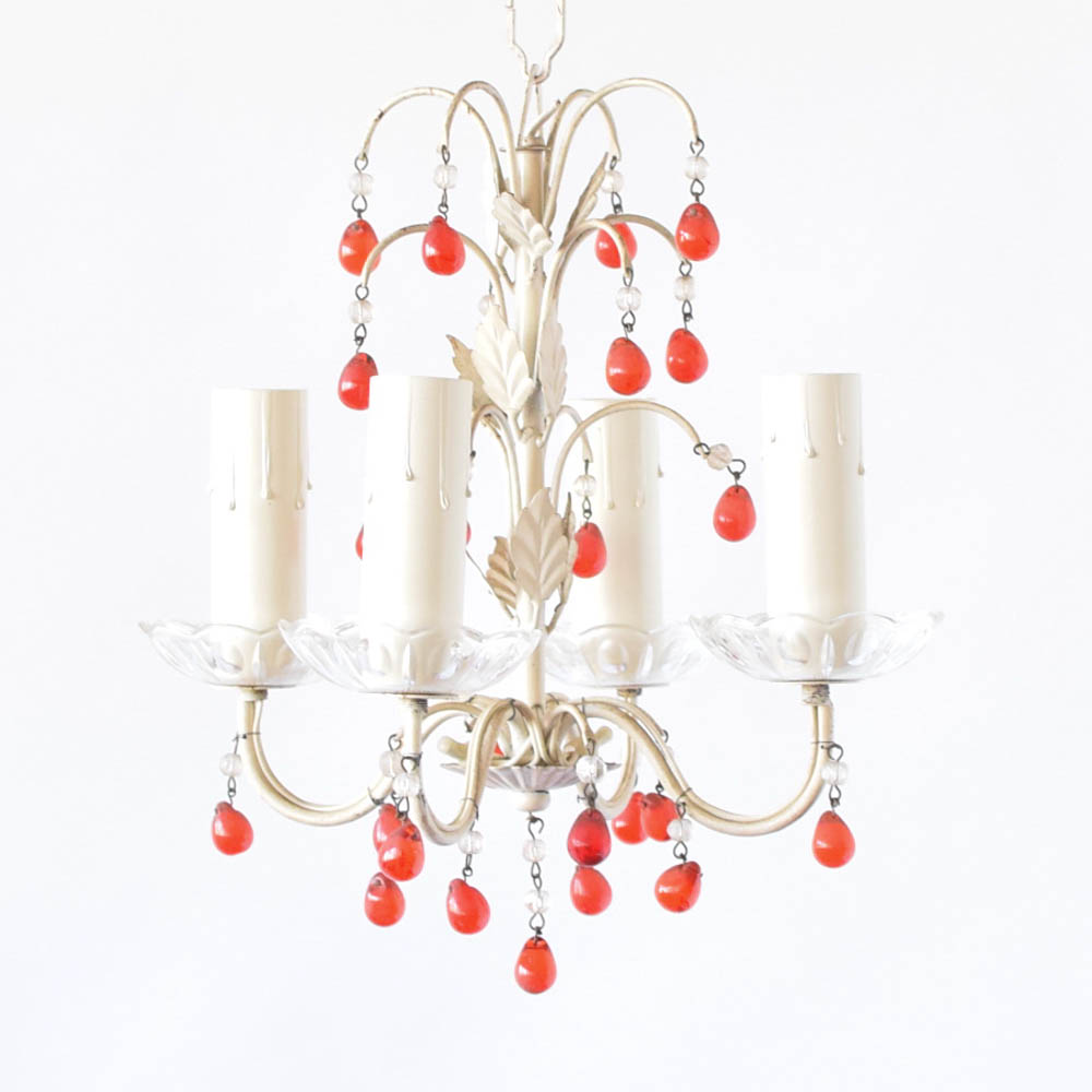 Small iron chandelier wred beads the big chandelier small iron chandelier with red beads from italy aloadofball Images
