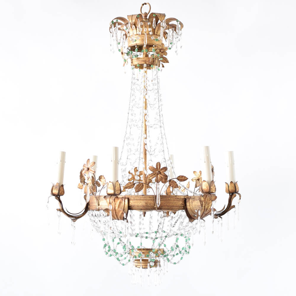 Gilded Iron Chandelier with macaroni beads from Italy