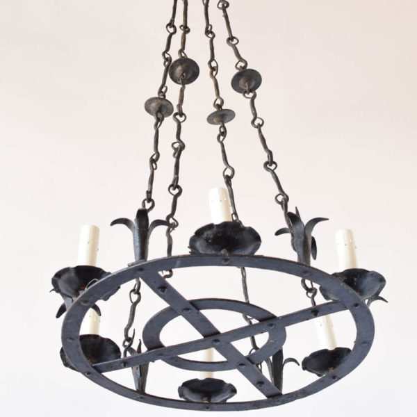 Concentric circles chandelier with hooks as arms from Spain