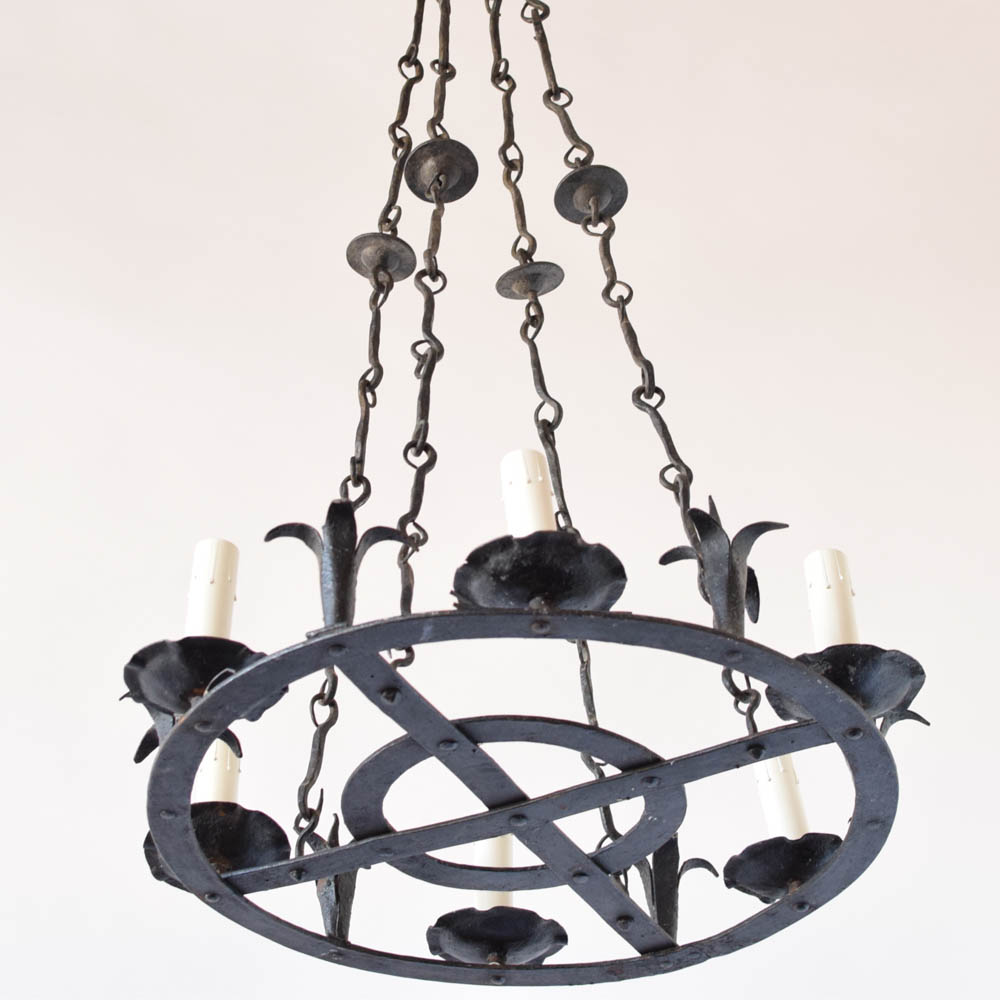 Concentric circular spanish chandelier the big chandelier concentric circles chandelier with hooks as arms from spain mozeypictures Choice Image