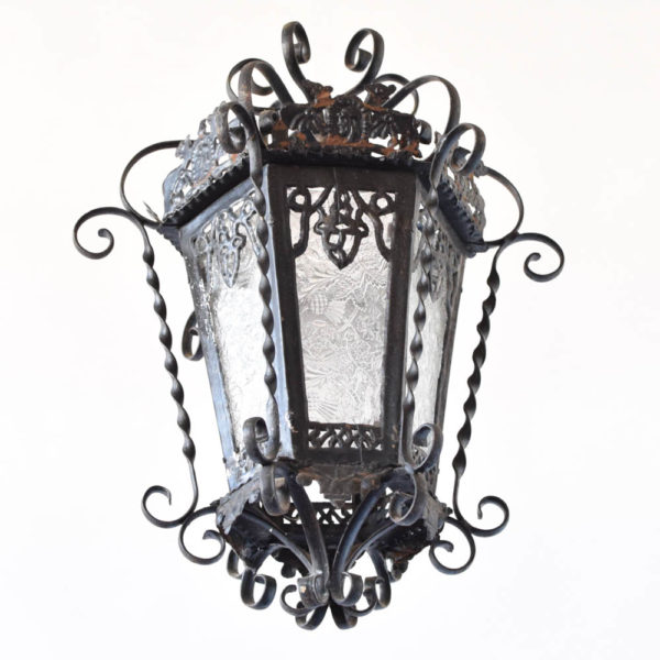 Large Iron Chandelier from Spain