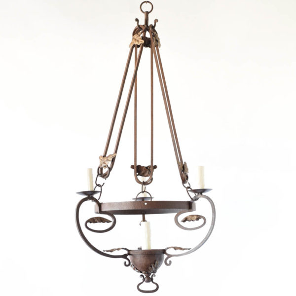 Tall Iron Chandelier from Belgium