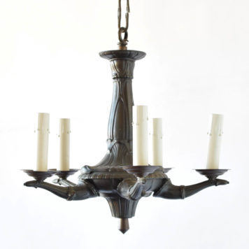 Small art deco bronze chandelier from belgium