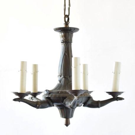 Small art deco bronze chandelier from belgium