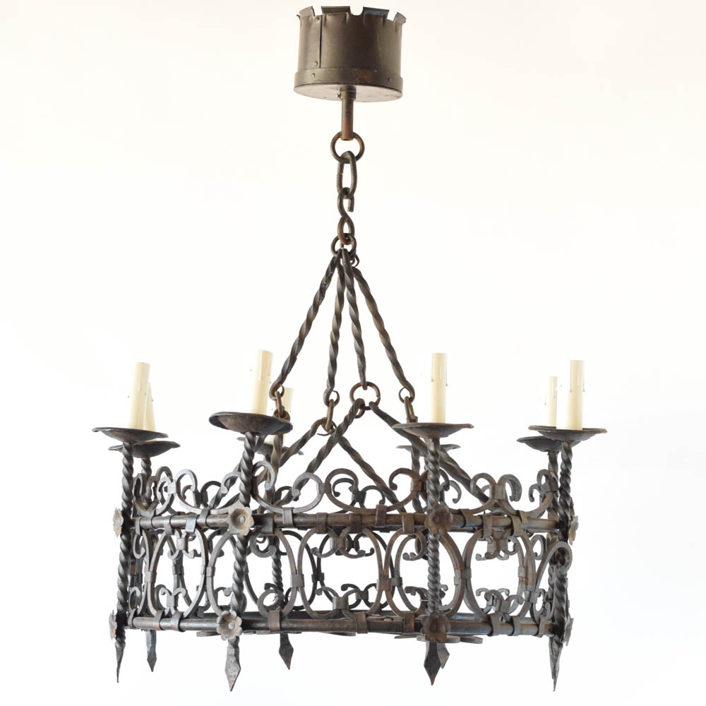 Flemish bronze chandelier with birds the big chandelier french hand forged ring chandelier arubaitofo Gallery