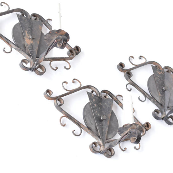 Set of 3 sconces from Franc, with scroll design on the boundary