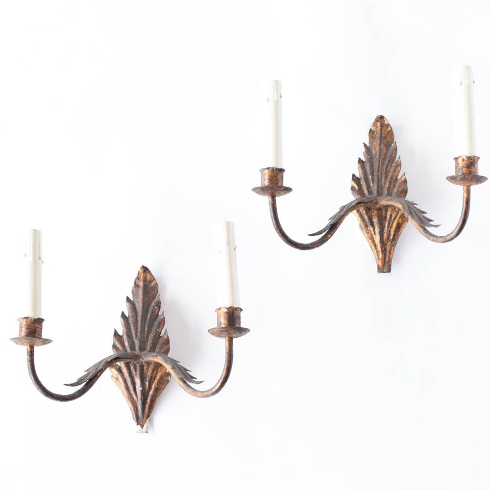 Pairof iron sconces with a leaf design