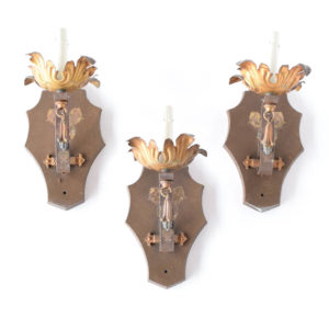 set of 3 flower and shield sconces from United States of America